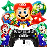 Super Mario Party Decorations Kit, Super Mario Folienballon Mario Geburtstag Dekoration XXL Folienballon Super Mario Balloon Kindergeburtstag Deko,9 Stück