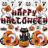 TEPILOS Halloween Luftballons, 49 Stück Halloween Dekoration Orange Schwarz Luftballons Girlande Kit für Halloween Party Deko