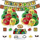 Gxhong Geburtstagsfeier Dekorationen, Super Mario Thema Party Geburtstag Luftballons Set mit Happy Birthday Banner Kuchen Toppers, Geburtstag Deko Latexballons für Jungen und Mädchen