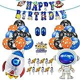 Ousuga Astronaut & Rakete Motto Luftballons Dekoration, Universum Aliens Aluminium Ballon mit Kuchenflagge für Mädchen Jungen Kindergeburtstag (38 Stück)
