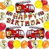 MAKFORT Deko Geburtstag Jungen Ballon Geburtstag Dekoration Junge Feuerwehrauto Happy Birthday Dekoration für Jungen