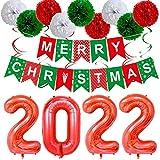 BOST 2022 Weihnachtsballonset, Ballonzubehör Dekoration, Digitale Aluminiumfolienkombination Weihnachtsfeierballonset, verwendet für Weihnachtsfeierdekoration