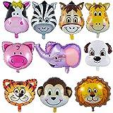 YIKEF Folienballon Tiere, 10 Stück Tierkopf Luftballons, Luftballons Tiere Kindergeburtstag - Helium ist Erlaubt, Perfekt für Kinder Geburtstag Party Dekoration