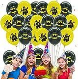 Qemsele Geburtstag Luftballons für Kinder, 50pcs Karikatur Konfetti Luftballons 12 Zoll Latex Ballons mit Bändern Geburtstag Party Dekoration Karneval, Kindergeburtstag (Batman)