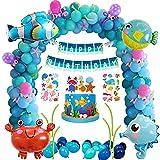 Meer Geburtstagsdeko Geburtstag Party Dekoration, Unterwasser Thema Kindergeburtstag Deko mit Luftballons Meerestiere Clownfisch Kugelfisch Hippocampus Krabbe Folienballon für Junge Geburtstag
