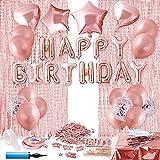 Herefun Party Geburtstag Deko Rosegold Ballons Set, Geburtstagsfeier Luftballons Dekoration, Geburtstagsdeko Folienballon mit Happy Birthday Buchstaben Ballons Konfetti Tischdecke Rose Gold