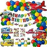 Geburtstagsdeko Junge, Auto Geburtstags Dekoration Verkehr Kindergeburtstag Deko Happy Birthday Dekoration Banner Folienballon für Junge Kinder Geburtstagsdeko Baby Shower
