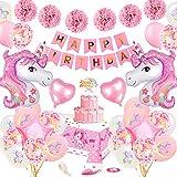 Unicorn Birthday Party Dekoration Mädchen, TOLOYE Rosa Geburtstag Dekoration Set mit Banner Latex Confetti 3D Einhornfolie Ballons Pompons, Pastell Einhorn Party Supplies für Baby Girl