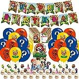 Super Mario Party Supplies,Super Mario Geburtstagsfeier Dekorationsset,Super Mario Themenparty Geburtstag mit Happy Birthday Banner Kuchendeckel Latex Luftballons für Mario Dekorationsset