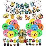 Pokémon Geburtstagsdeko Pikachu Luftballons Alles Gute Zum Geburtstag Girlande Kindergeburtstag Tortentopper Wirbel Dekoration für Kinder Pokemon Geburtstagsfeier Dekoration Partyzubehör